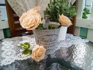 Анонс работы: пудровые розы в кашпо. Ярмарка Мастеров - ручная работа, handmade.