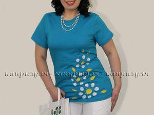 Украшаем женскую футболку цветами | Ярмарка Мастеров - ручная работа, handmade