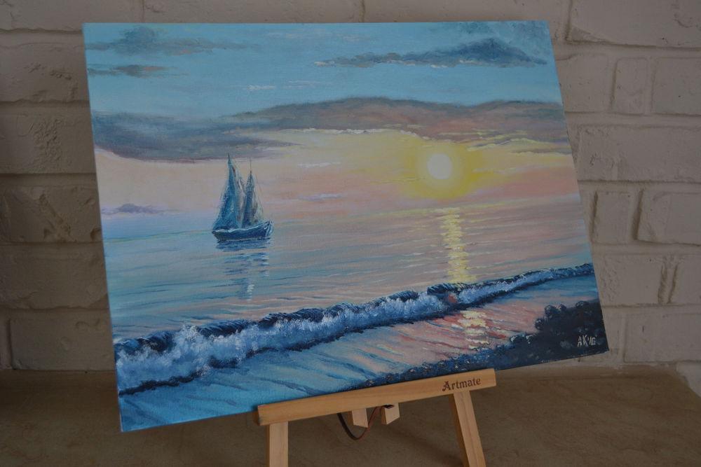 анна кшановская-орлова, картина, картину, живопись маслом, масляная живопись, море, морской пейзаж, картина на подарок, картина на заказ, океан, прибой, волны, лодка, закат на море