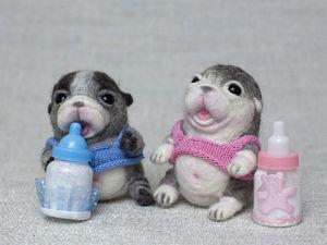 Валяем двух маленьких щенков. Ярмарка Мастеров - ручная работа, handmade.
