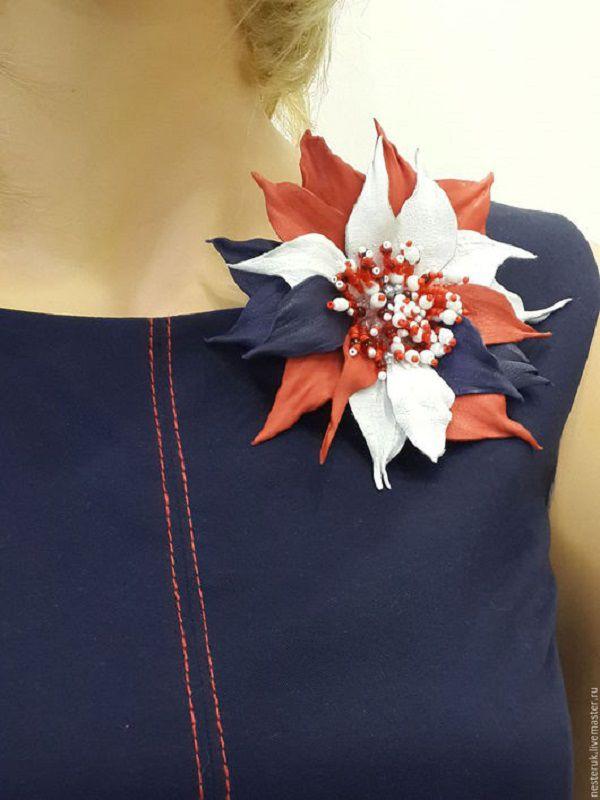 Как сделать брошь цветок на платье