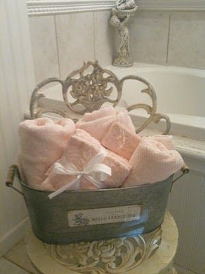 guest towels in galvanized bin