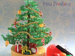 Новогодний мастер-класс «Миниатюрная ёлочка из бисера «Сладкий Новый год!»   Ярмарка Мастеров - ручная работа, handmade