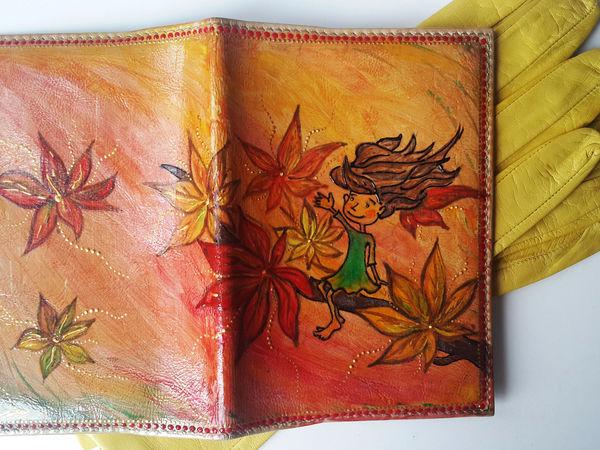 Обновляем старую обложку для паспорта с помощью рисунка Девочки-Осени   Ярмарка Мастеров - ручная работа, handmade