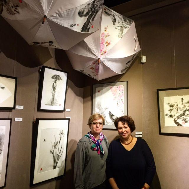 выставка, тушь, япония, культура, осень 2016, хорошее настроение, картины, японский стиль, каллиграфия, пейзаж, птицы, животные, живопись, портрет, красота, коломенское, осеннее настроение, осень, зонт с рисунком, зонтик