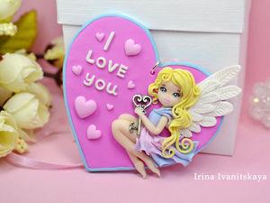 Видео мастер-класс: «Валентинка с куколкой» к 14 февраля из полимерной глины. Ярмарка Мастеров - ручная работа, handmade.