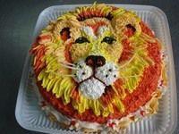 торт, лев, крем, праздник, день рождения