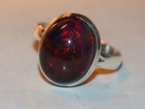 Кольцо опал чёрный натуральный Эфиопия -серебро 925%. Ярмарка Мастеров - ручная работа, handmade.