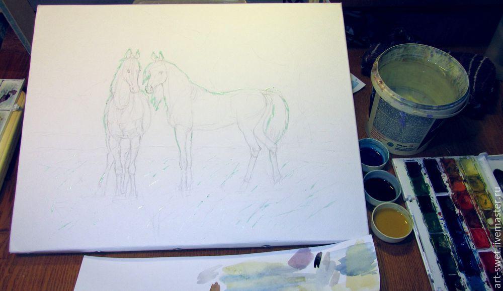 Как рисовать лошадок акварелью, фото № 3