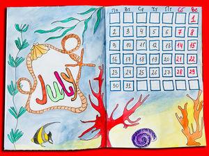 Рисуем подводный мир, кораллы и встречаем Июль. Ярмарка Мастеров - ручная работа, handmade.