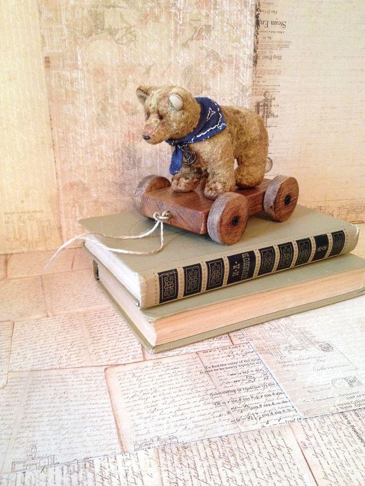 история мишки, мишка на тележке, винтажный мишка, тедди, мишка ручной работы