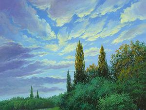 """Аукцион!!! — картина акрилом  """"Летний вечер''. Ярмарка Мастеров - ручная работа, handmade."""