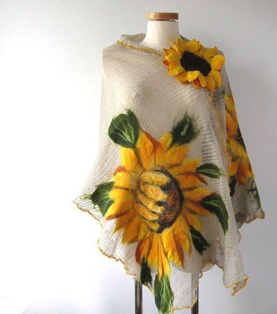 Linen shawl knit jersey felted aplication Sunflower by galafilc, $74.00
