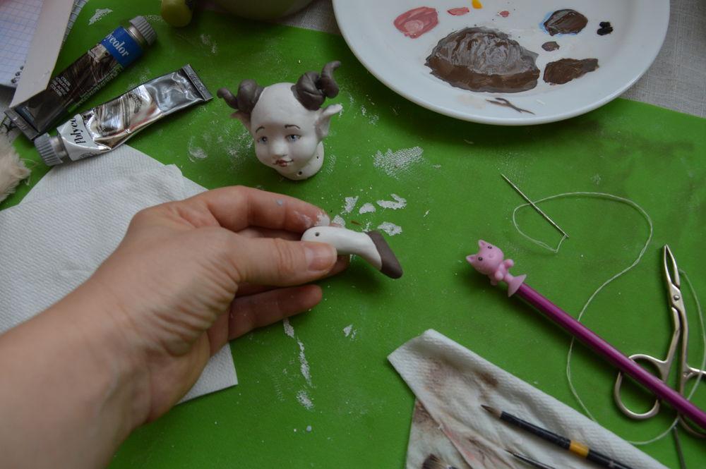 миниатюрная кукла, авторская тедди-долл, куклы marakuli, козерог кукла, кукла в подарок, новогодний подарок, процесс создания куклы