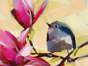 Яркие птички в живописных работах Angela Moulton. Ярмарка Мастеров - ручная работа, handmade.