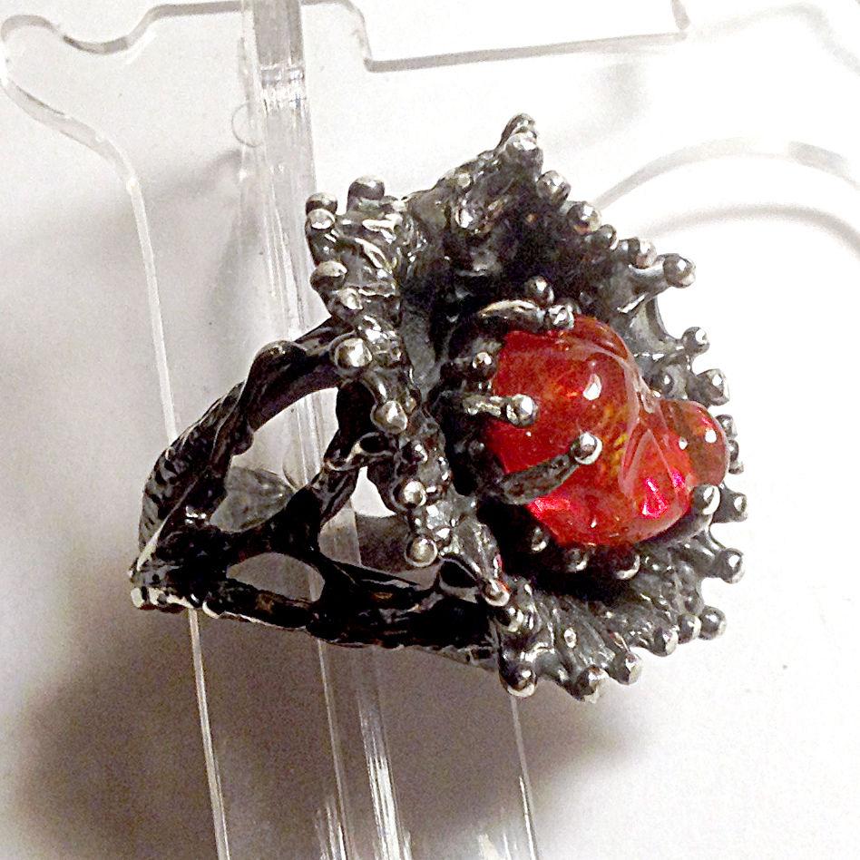 огненный опал, австралийский опал, скидка, 8 марта, авторское украшение, серебро 925 пробы