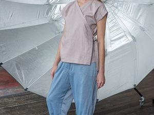 YOKU LOOK: льняная блуза-кимоно и брюки оверсайз из шамбре. Ярмарка Мастеров - ручная работа, handmade.