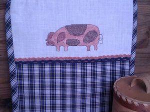 Внимание! Новинки! Кухонные прихватки в деревенском стиле с коровой и свиньей!. Ярмарка Мастеров - ручная работа, handmade.