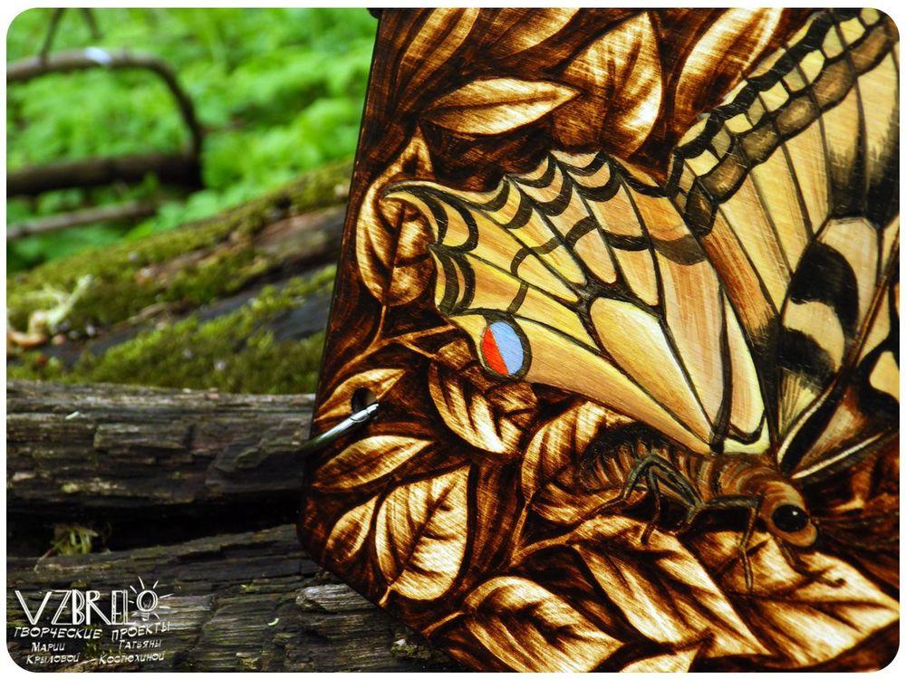 vzbrelo, деревянный блокнот, на заказ, бабочка, выжигание, серия, блокнот из дерева