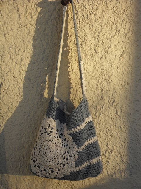 Crocheted bag with a doily.