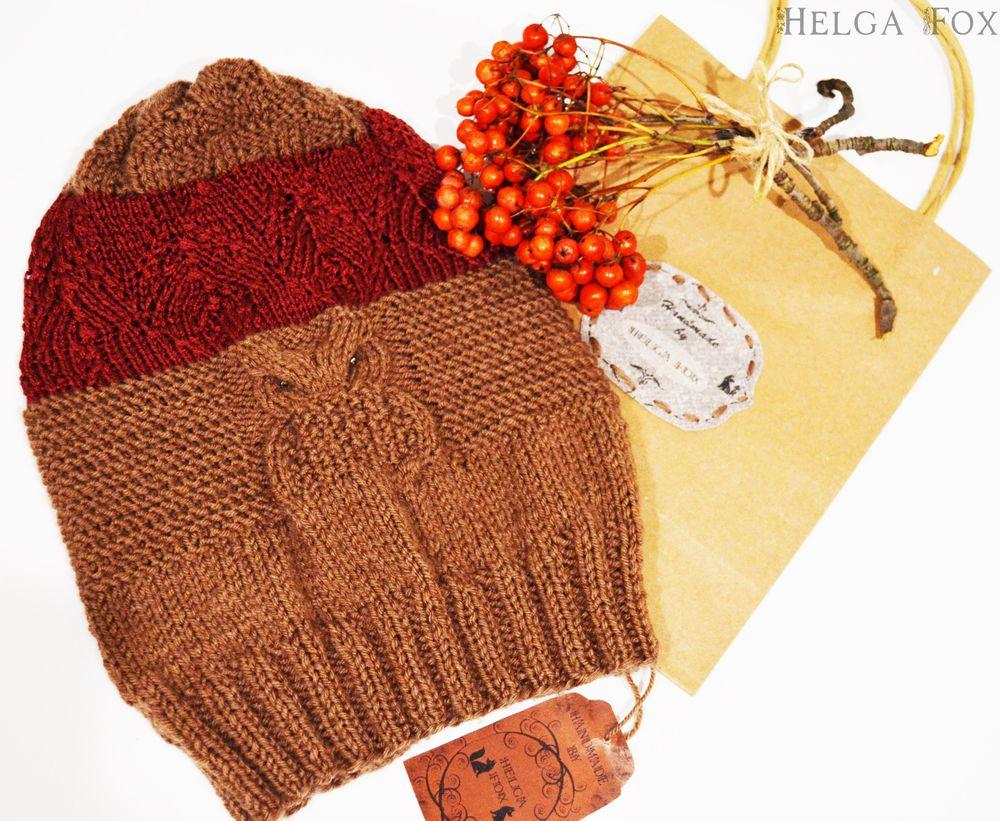 шапка, коричневый, листья