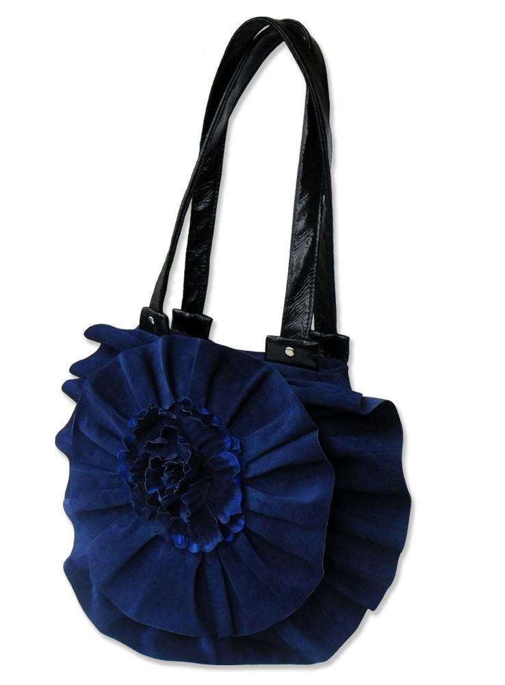 сумка синяя замшевая, сумка-цветок бутон