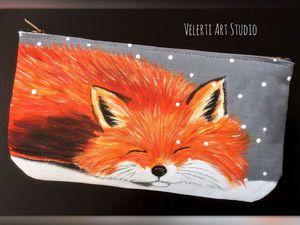 Аукцион на Лисичку! Косметичка с ручной росписью! | Ярмарка Мастеров - ручная работа, handmade