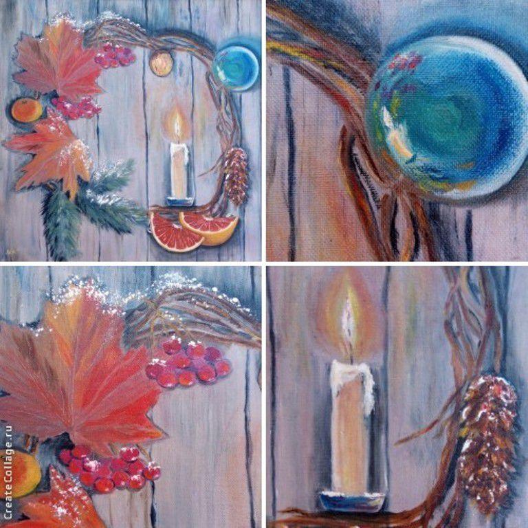 новый год, рождество, интерьер, новогодний подарок, рождественский венок, зимний пейзаж, вечер, свеча, мишура, ёлочное украшение