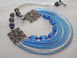 Sky-Blue Handmade Necklace. Livemaster - handmade