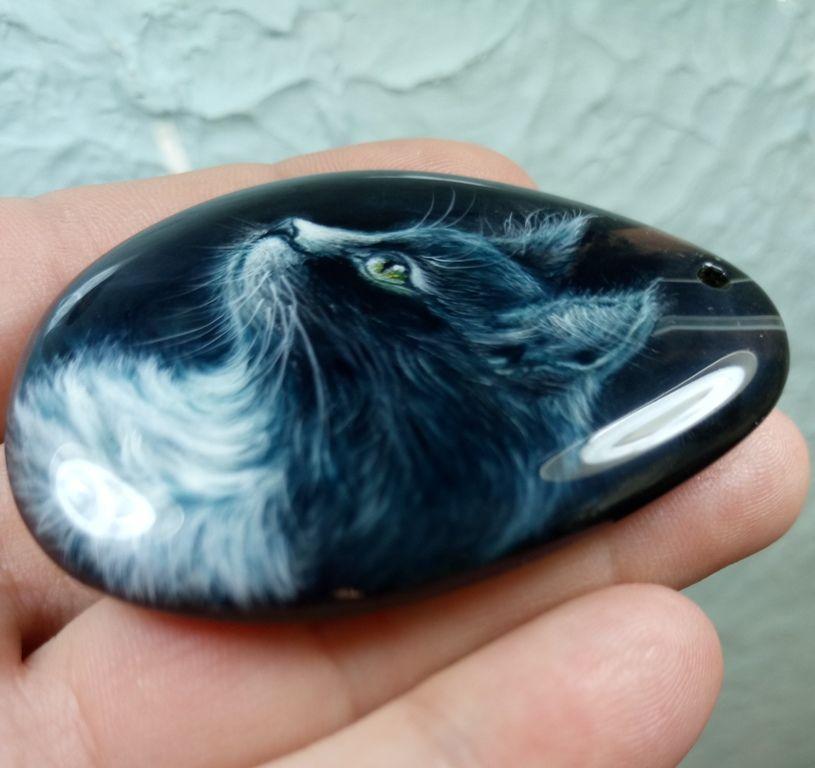 подвеска кошка, для украшений, авторская роспись кулон