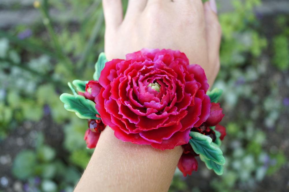 полимерная глина, лепка цветов, лепка из пластики, мастер класс, уроки, браслет