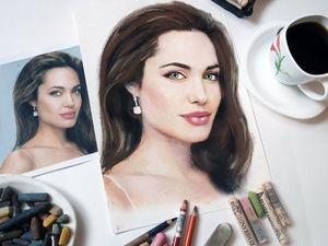 Видео процесса рисования Анжелины Джоли | Ярмарка Мастеров - ручная работа, handmade