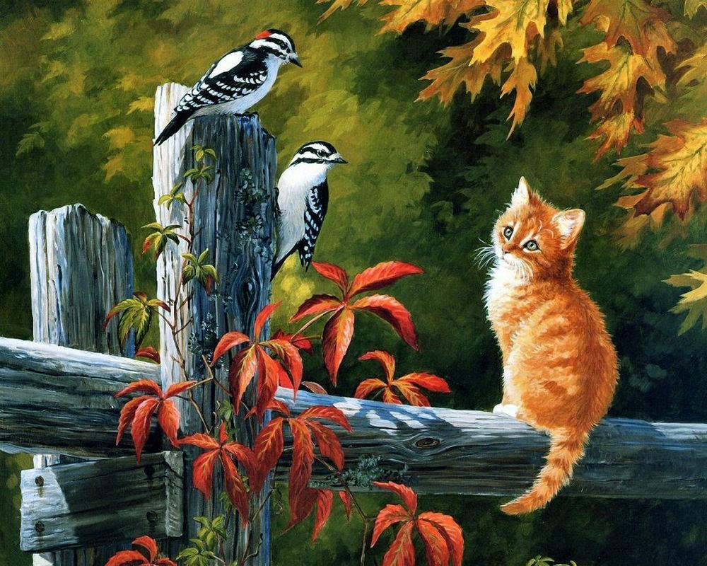 картина, вышивка лентами, рыжий кот