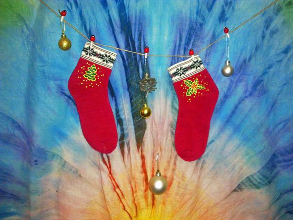 Создаем милые новогодние носочки за час   Ярмарка Мастеров - ручная работа, handmade