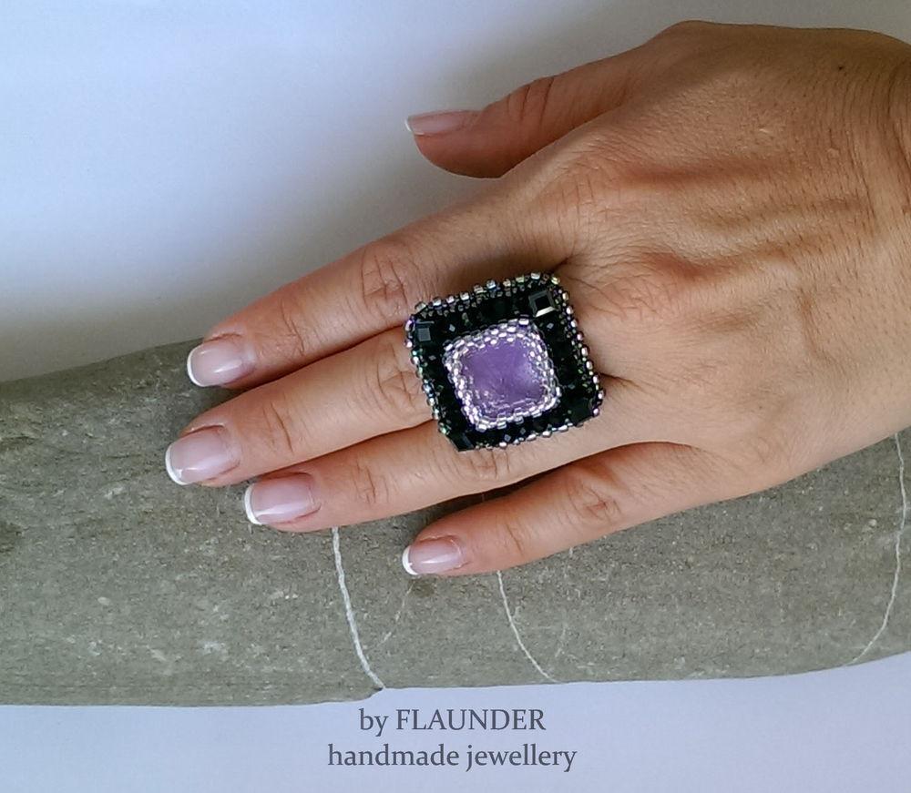 кольцо с аметистом, flaunder, черное кольцо