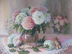 10% скидка на картину маслом «Хризантемы, мои хризантемы». Ярмарка Мастеров - ручная работа, handmade.