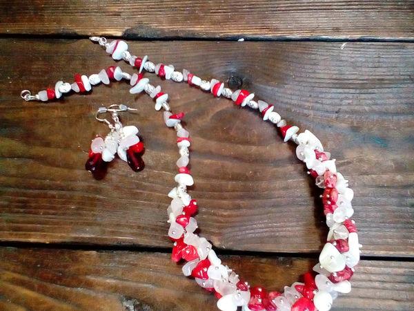 Комплект украшений из каменной крошки - колье и серьги   Ярмарка Мастеров - ручная работа, handmade