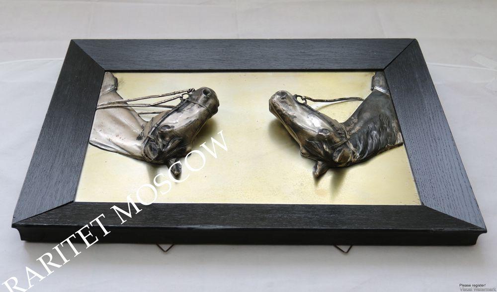 Картина панно конь лошадь серебрение Германия 7, фото № 13