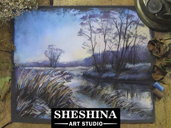 Видеоурок: рисуем зимний пейзаж в сумерках сухой пастелью | Ярмарка Мастеров - ручная работа, handmade