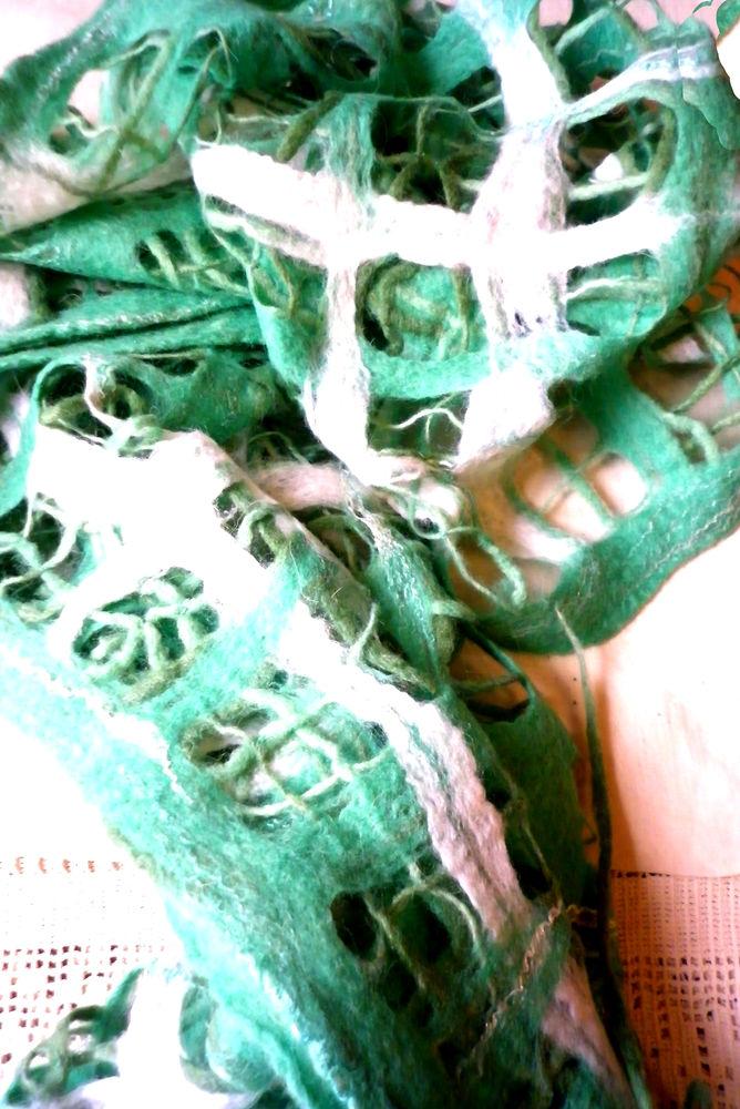 мятный палантин, шерстяной шарф, авторский палантин