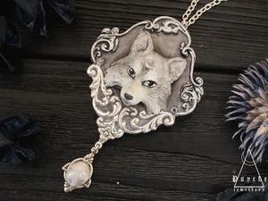Новинка! Wolf moon.Кулон из полимерной глины за 2100 р.Готовая работа. Ярмарка Мастеров - ручная работа, handmade.
