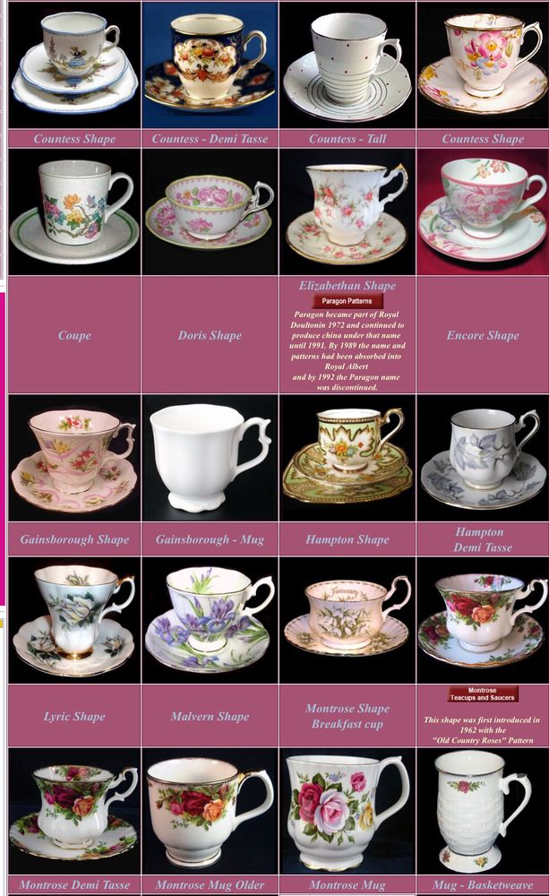 форма чашек, форма чайных пар