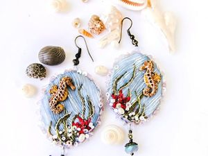 Modeling Textile Earrings with Embroidery. Livemaster - handmade