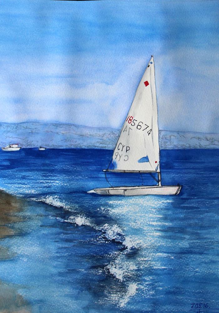скидка, акварель, картина в подарок, море, птица