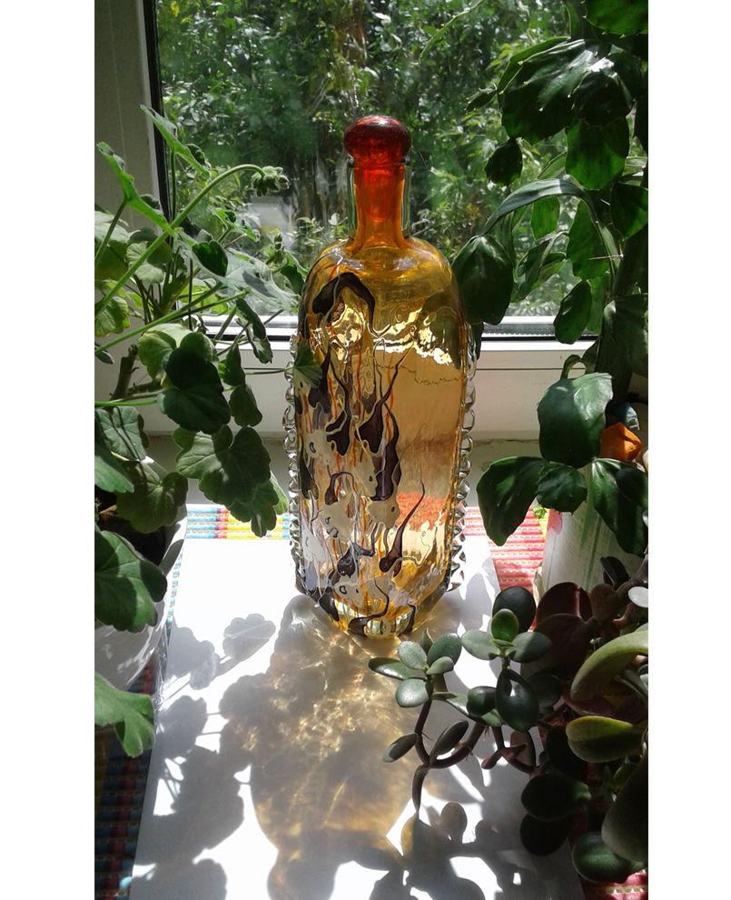 ольга родионова, рисование на стекле, ботаника на бутылке