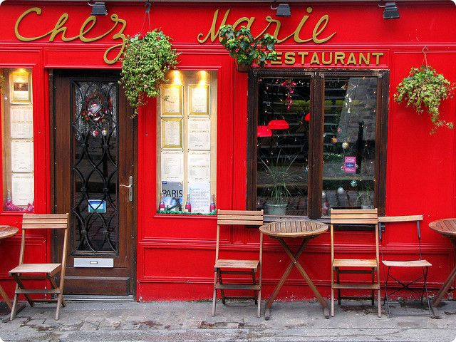 Red storefront in Paris