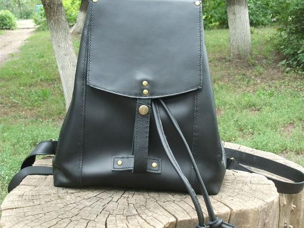 Рюкзак из кожи черный 2 | Ярмарка Мастеров - ручная работа, handmade