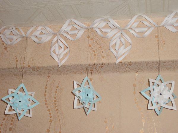 Делаем гирлянду из объемных снежинок | Ярмарка Мастеров - ручная работа, handmade