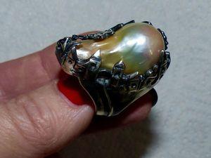 Новое кольцо с домиками и розовой жемчужиной. Ярмарка Мастеров - ручная работа, handmade.