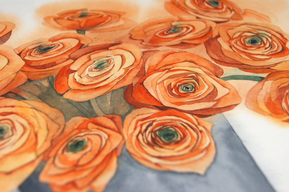 для невесты, цветы акварелью